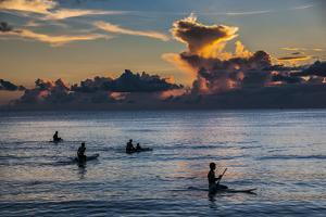 Surfer at Sunset in Guam, Us Territory, Central Pacific, Pacific by Michael Runkel