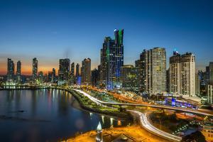 The skyline of Panama City at night, Panama City, Panama, Central America by Michael Runkel