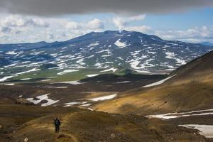 Tourists Hiking to the Smoking Gorely Volcano, Kamchatka, Russia, Eurasia by Michael Runkel