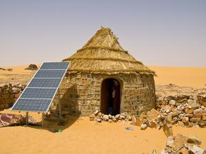 Traditional House With a Solar Panel in the Sahara Desert, Algeria, North Africa, Africa by Michael Runkel