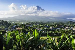 View from the Daraga Church over Mount Mayon Volcano, Legaspi, Southern Luzon, Philippines by Michael Runkel