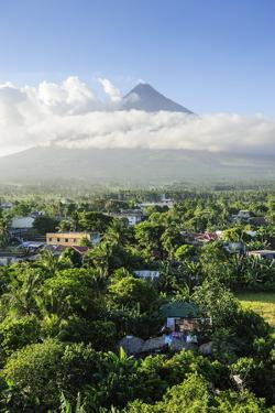 View from the Daraga Church over Volcano of Mount Mayon, Legaspi, Southern Luzon, Philippines by Michael Runkel