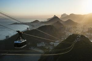 View from the Sugarloaf and the Famous Cable Car at Sunset, Rio De Janeiro, Brazil, South America by Michael Runkel