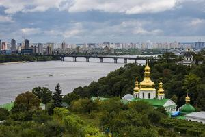 View over City, the Kiev-Pechersk Lavra and the Dnieper River, Kiev (Kyiv), Ukraine, Europe by Michael Runkel