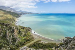 View over Preveli Beach, Crete, Greek Islands, Greece, Europe by Michael Runkel