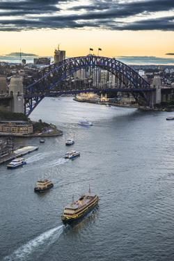 View over Sydney harbour after sunset, Sydney, New South Wales, Australia, Pacific by Michael Runkel