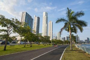 Walkway and the skyline of Panama City, Panama, Central America by Michael Runkel