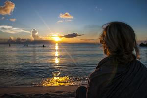 Woman Watching the Sunset in Guam, Us Territory, Central Pacific, Pacific by Michael Runkel