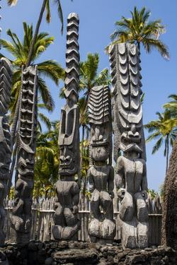 Wooden Statues in the Puuhonua O Honaunau National Historical Park by Michael Runkel
