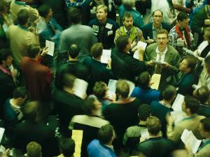 An Elevated View of Traders on the Board of Trade Floor by Michael S. Lewis