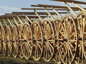 Handcarts Lined up at the Mormon Handcart Center by Michael S. Lewis