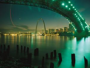 Night View of St. Louis Near the Eads Bridge by Michael S. Lewis