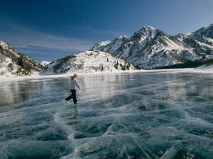 A Girl Ice Skates Across a Frozen Mountain Lake by Michael S. Quinton