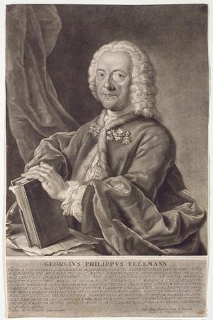Portrait of Georg Philipp Telemann (1681-1757) Engraved by Georg Preisler (1700-54)