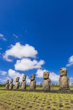 Seven Moai at Ahu Akivi by Michael