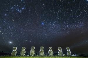 Seven Moai under the Stars by Michael