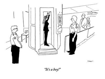"""It's a boy!"" - New Yorker Cartoon"