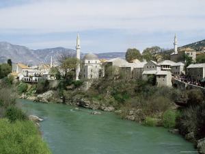 Grand Mosque (Karadjoz Beg) and River Neretya, Mostar, Bosnia Herzegovina by Michael Short