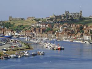 Harbour, Abbey and St. Mary's Church, Whitby, Yorkshire, England, UK, Europe by Michael Short