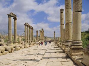 The Colonnaded Street, Cardo Maximus, in the Roman Ruins, Jerash, Jordan by Michael Short