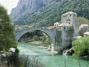 The Turkish Bridge Over the River Neretva Dividing the Town, Mostar, Bosnia, Bosnia-Herzegovina by Michael Short