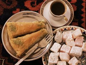 Typical Turkish Desserts - Baklava, Loukoumi (Turkish Delight), and Turkish Coffee, Turkey, Eurasia by Michael Short