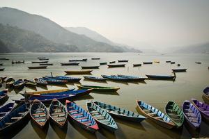 Boats on Phewa Lake, Pokhara, Nepal by Michael Slevin Uttley