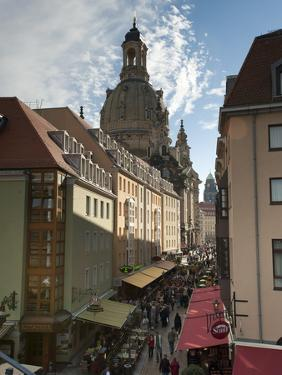Frauenkirche Looming Over Shopping Area, Dresden, Saxony, Germany, Europe by Michael Snell