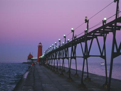 Grand Haven Lighthouse on Lake Michigan, Grand Haven, Michigan, USA by Michael Snell
