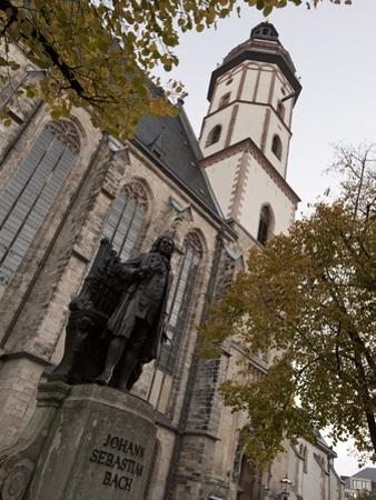Statue of Bach, Thomaskirche, Leipzig, Saxony, Germany, Europe by Michael Snell