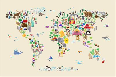 Animal Map of the World for children and kids by Michael Tompsett