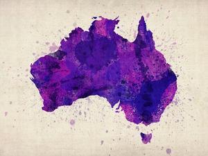 Australia Paint Splashes Map by Michael Tompsett