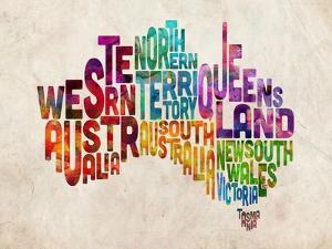 Australia Text Map by Michael Tompsett