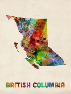 British Columbia Watercolor Map by Michael Tompsett