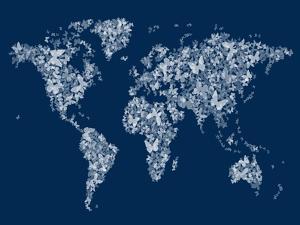 Butterflies Map of the World Map by Michael Tompsett