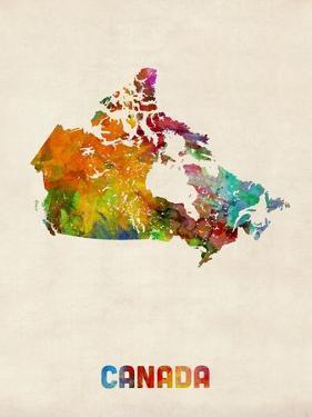 Canda Watercolor Map by Michael Tompsett