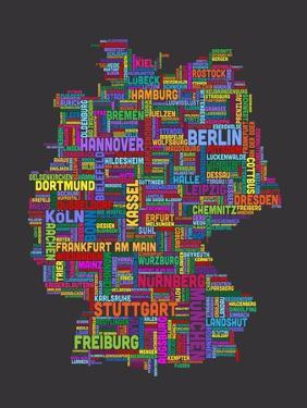City Text Map of Germany by Michael Tompsett