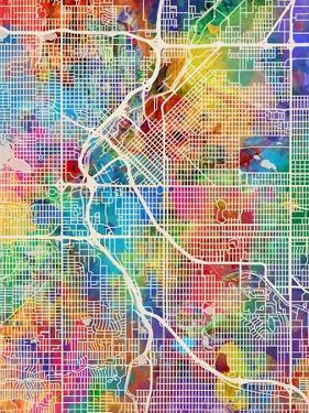 Denver Colorado City Street Map by Michael Tompsett