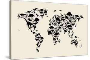 Dinosaur Map of the World Map by Michael Tompsett