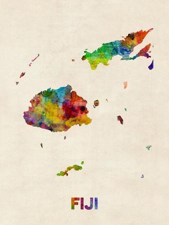 Fiji Watercolor Map