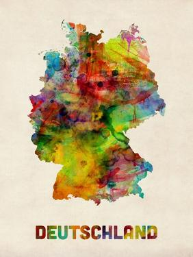 Germany Watercolor Map (Deutschland) by Michael Tompsett