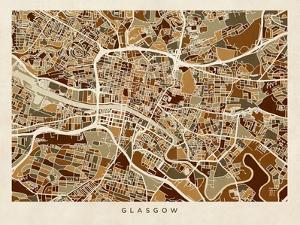 Glasgow City Street Map by Michael Tompsett