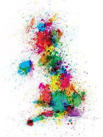 Great Britain UK Map Paint Splashes by Michael Tompsett