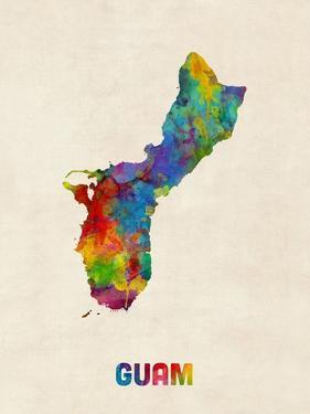 Guam Watercolor Map by Michael Tompsett