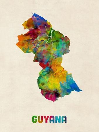 Guyana Watercolor Map by Michael Tompsett