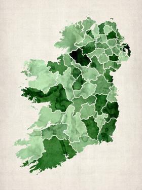 Ireland Watercolor Map by Michael Tompsett
