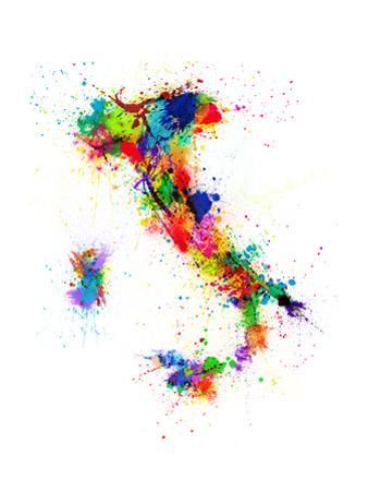 Italy Map Paint Splashes by Michael Tompsett