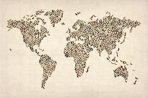 Ladies Shoes Map of the World Map by Michael Tompsett