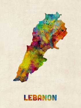 Lebanon Watercolor Map by Michael Tompsett