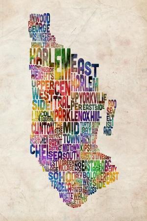 Manhattan New York Text Map